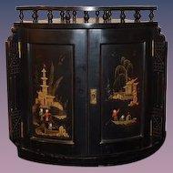 Old Wood Oriental Hanging Corner Cabinet Hand Painted Scene Ornate WONDERFUL