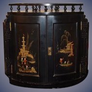 Old Wood Oriental Hanging Corner Cabinet Hand Painted Scene Ornate WONDERFUL