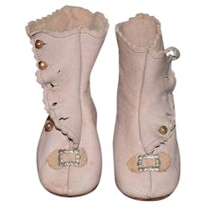 Sweet Doll Leather Boots Button Up Artist Soft Kid Leather Pink Shoes