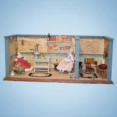 Old Doll Room Box W/ Dolls and Miniatures China Head Parian & Baby Two Room Wood Dollhouse