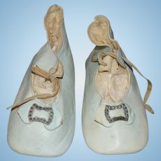 Old Leather Doll Shoes w/ Bows & Buckles For a Larger Doll Sweet Blue