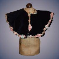 Wonderful Doll Cape Velvet Flower Trim Fashion Doll Hand Made
