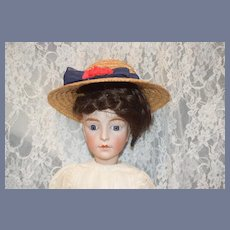 Antique Doll French Bisque Art Character Lady Closed Mouth Prevost Huret Lanternier Glass Eyes Gorgeous Leather Body
