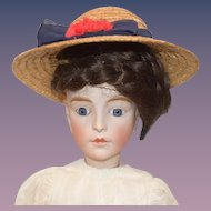 Antique Doll French Bisque Closed Mouth Prevost Huret Lanternier Glass Eyes Gorgeous Leather Body