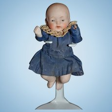 Old Doll All Bisque Jointed Baby Dressed Sweet Miniature Dollhouse Nippon