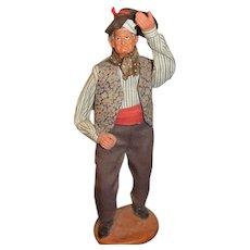 Wonderful Terra-cotta Doll Figure Signed S.Jouglas Character Doll