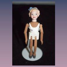 Wonderful Wood & Porcelain Jointed Pegged Miniature Dollhouse Artist Doll