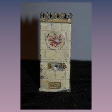 Old Doll Miniature Stove Fireplace Tin Metal  W/ Scene Dollhouse
