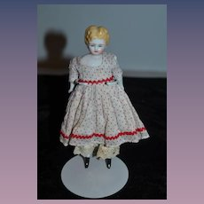 Old Beautiful China Head Doll Miniature Dollhouse Center Part Dressed