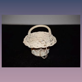 Old Doll Wicker Basket Purse Charming Miniature Braided Ribbon Lidded Top
