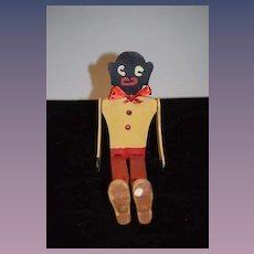 Old Carved Wood Jointed Dancing Black Doll Americana Folk Art