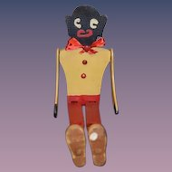 Old Carved Wood Jointed Dancing Black Doll Americana Folk Art