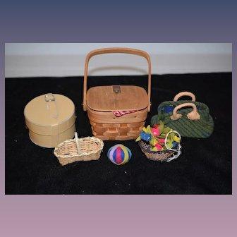 Vintage Miniature Doll Lot Hat Boxes Suit Case Kathe Kruse and More Picnic Basket Flower Basket