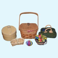 Vintage Miniature Doll Lot Hat Boxes Suit Case Kathe Kruse and More Picnic Basket Flower Basket