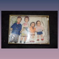 Vintage Doll German Dollhouse Family Lot W/ Old Tags on Back Four Dolls