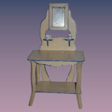 Antique Doll Vanity For Fashion Doll Sweet Miniature Painted Wood