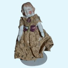 Antique Doll Miniature All Bisque Jointed Dollhouse Dressed