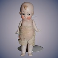 Antique Doll All Bisque Jointed Side Glancing Eyes Character Dollhouse