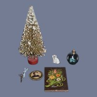 Wonderful Vintage Doll Miniature Dollhouse Lot Christmas Tree Dog Tole Painted Tin Picture Scissors Glass Bottle