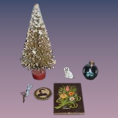 Wonderful Vintage Doll Miniature Dollhouse Lot Christmas Tree Dog Tole Painted Tin Picture Scissors Glass Bottle