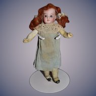 Antique Doll Miniature Dollhouse Bisque Head Dollhouse Redhead