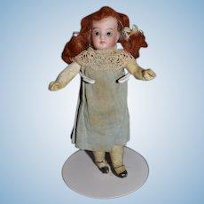 Antique Doll Miniature Dollhouse Bisque Head Dollhouse Redhead