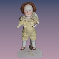 Antique Doll Miniature All Bisque Dollhouse Jointed Dressed
