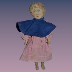 Wonderful Old Sweet Printed Cloth Doll Dressed Petite Size