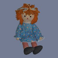 Wonderful Old Raggedy Ann Cloth Doll Nice Big Girl with a different look