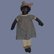 Wonderful Vintage Artist Black Cloth Doll Molded Features Unusual