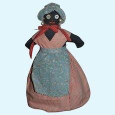 Vintage Doll Black Cloth Doll Pincushion Sweet Lady! Rag Doll