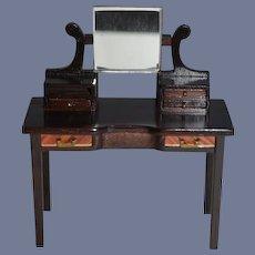 Wonderful Doll Artist Sheraton Style Miniature Dollhouse Desk Mixed Wood Sonia Messer Sonja Messer