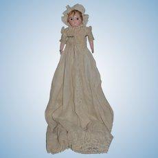 Antique Doll Wax  Motschmann Glass Eyes Antique Gown