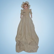 Antique Doll Wax  Motschmann Glass Eyes Antique Gown