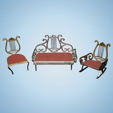 Old Miniature Doll Dollhouse Soft Metal Harp Back Parlor Set Sofa Chairs