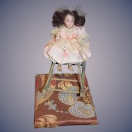Antique Doll Mechanical Wind up Bisque Head Wood Arms Legs Miniature Dollhouse Rocking Chair