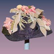Wonderful Doll Vintage Floppy Hat W/ Flowers Gorgeous with Brim up Bonnet