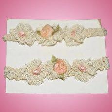 Old Petite Doll Lace & Flower Garter Garter's on Board Miniature Fancy