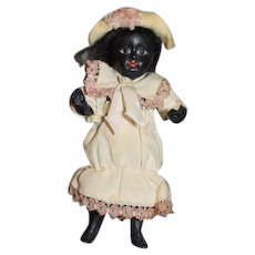 Antique Bisque Black Doll Miniature Dollhouse All Bisque Glass Eyes Jointed