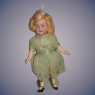 Antique Doll Miniature Bisque Original Factory Clothes Dollhouse Original Wig WONDERFUL