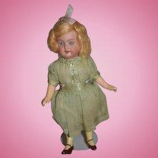 Antique Doll Miniature Bisque Original Factory Clothes Dollhouse Original Wig WONDERFUL