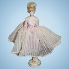 Wonderful Half Doll W/ Wig Dainty Pincushion W/ Legs Unusual Miniature Dollhouse Lady China Head
