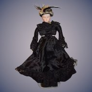 Antique Doll Fashion Lady Bisque Fancy Clothes W/ FAB Hat Solid Dome