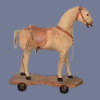 Antique Pull Toy Horse on Wheels Wood Base Glass Eyes Perfect Doll Size Miniature