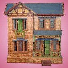 Antique Doll Dollhouse Miniature Wood & Litho Gottschalk W/ Blue Roof Two Story Balcony