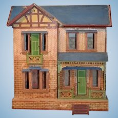 Antique Doll Dollhouse Miniature Wood & Litho Gottschalk W/ Blue Roof Two Story Balcony