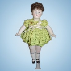 Antique Doll All Bisque Jointed French Loop Neck Dressed Miniature Dollhouse French Market
