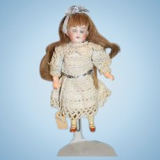 Antique Bisque Doll Miniature Dollhouse Glass Eyes Sweet Doll Human Hair Wig Steiner