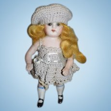 Antique Doll All Bisque Jointed Miniature Dollhouse Glass Eyes Jointed