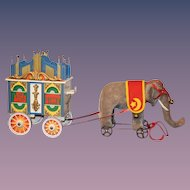 Golden Age of Circus Steiff Elephant Pulling Carriage
